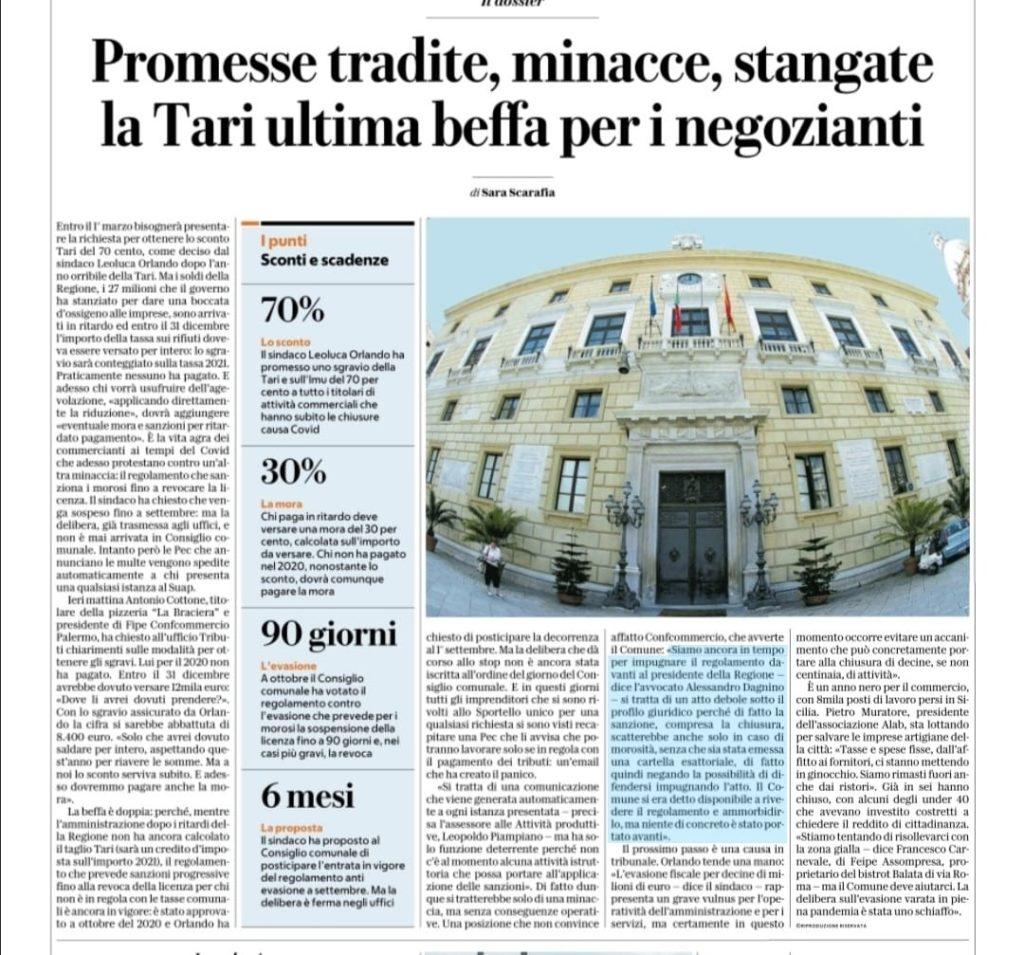 Alessandro Dagnino regolamento Tari Comune di Palermo